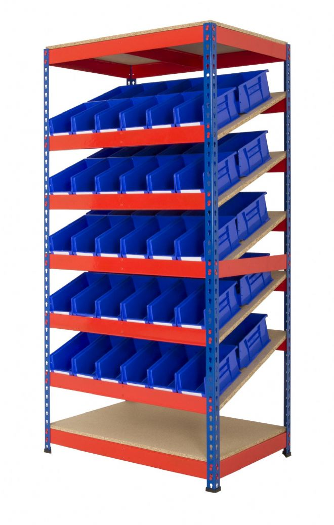 Kanban Shelving with Picking Bins - Blue & Orange